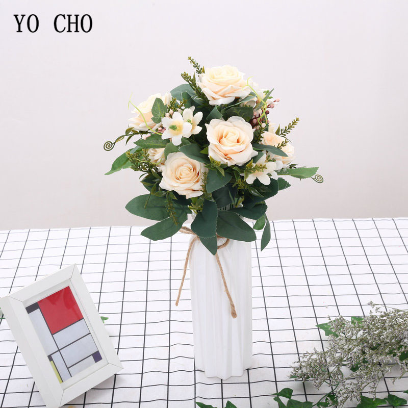 12 Heads Small Rose Artificial Silk Flower Bouquet Home Hotel Table Decoration Fake Flowers Wedding Bride Holding Floral Bouquet