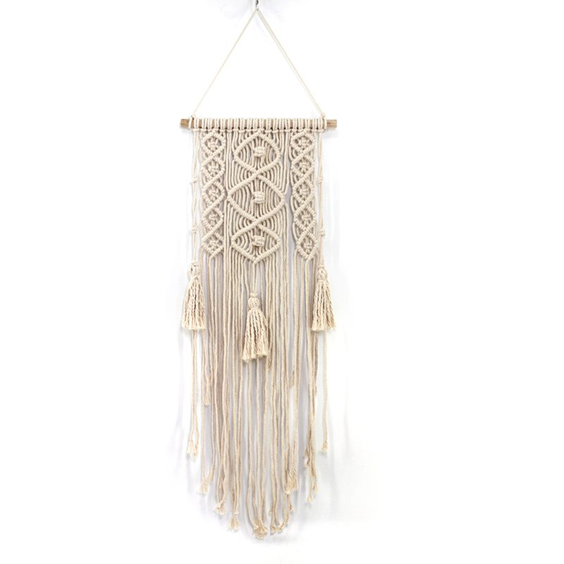 Macrame Wall Art Handmade Cotton Wall Hanging Tapestry With Lace Fabrics Bohemian Hanging Best|Decorative Tapestries| |  - title=