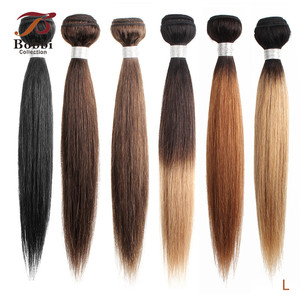 Image 1 - Bobbi Collection 1 Bundle Dark Brown 1B 27 Ombre Honey Blonde Indian Hair Weave Straight Human Hair Weft Non Remy Hair Extension