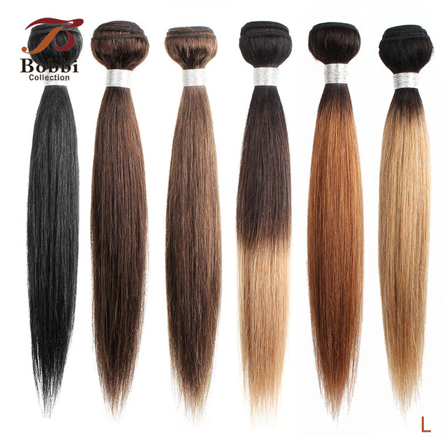 Bobbi Collection 1 Bundle Dark Brown 1B 27 Ombre Honey Blonde Indian Hair Weave Straight Human Hair Weft Non Remy Hair Extension