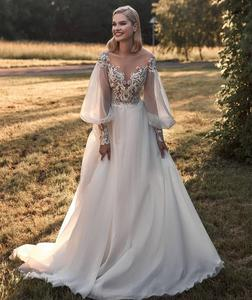 Wedding Dress 2020 A-Line Long Sleeve With Chapel Train V-Neck Backless Women Bridal Gowns Lace Appliques Graceful White