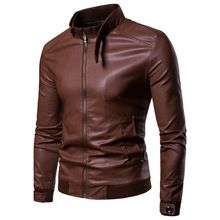 Mens Stand Collar Brown PU Leather Outdoor Jacket for Men Male Korean Motorcycle