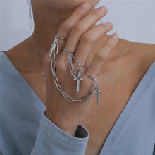 Hot Sale Vintage Cross Chain Ring Adjustable Joint Ring Hip Hop Punk Finger Rings For Women Men Egirl Dating Party BFF Jewelry