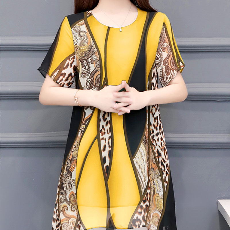 2019 Summer Fashion Women Chiffon Blouses O-neck Loose Women Tops 2