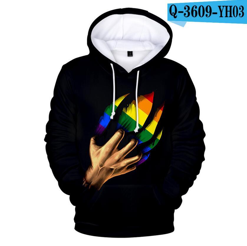 Colorful Rainbow LGBT Hoodies Sweatshirt Men Women For Lesbian Gay Pride LGBT Hoodie Fashion Casual Pullover Hooded Sweatshirts 7