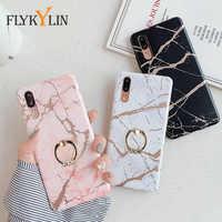FLYKYLIN-funda de teléfono con anillo de mármol Mate para Huawei P30 P20 Mate 20 Mate 30 Lite Pro Nova 3e 4e, funda de silicona suave