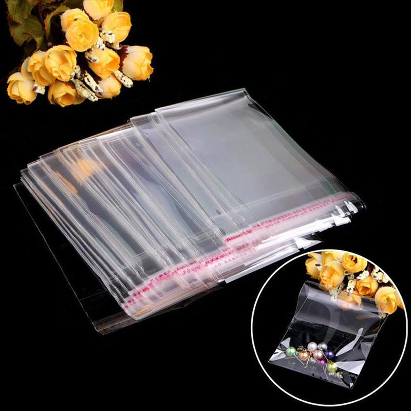 100pcs Transparent OPP Plastic Self Adhesive Seal Bags Jewelry Bags Candy Packaging Pouch Gifts & Cellophane Bag Bag K3Y6