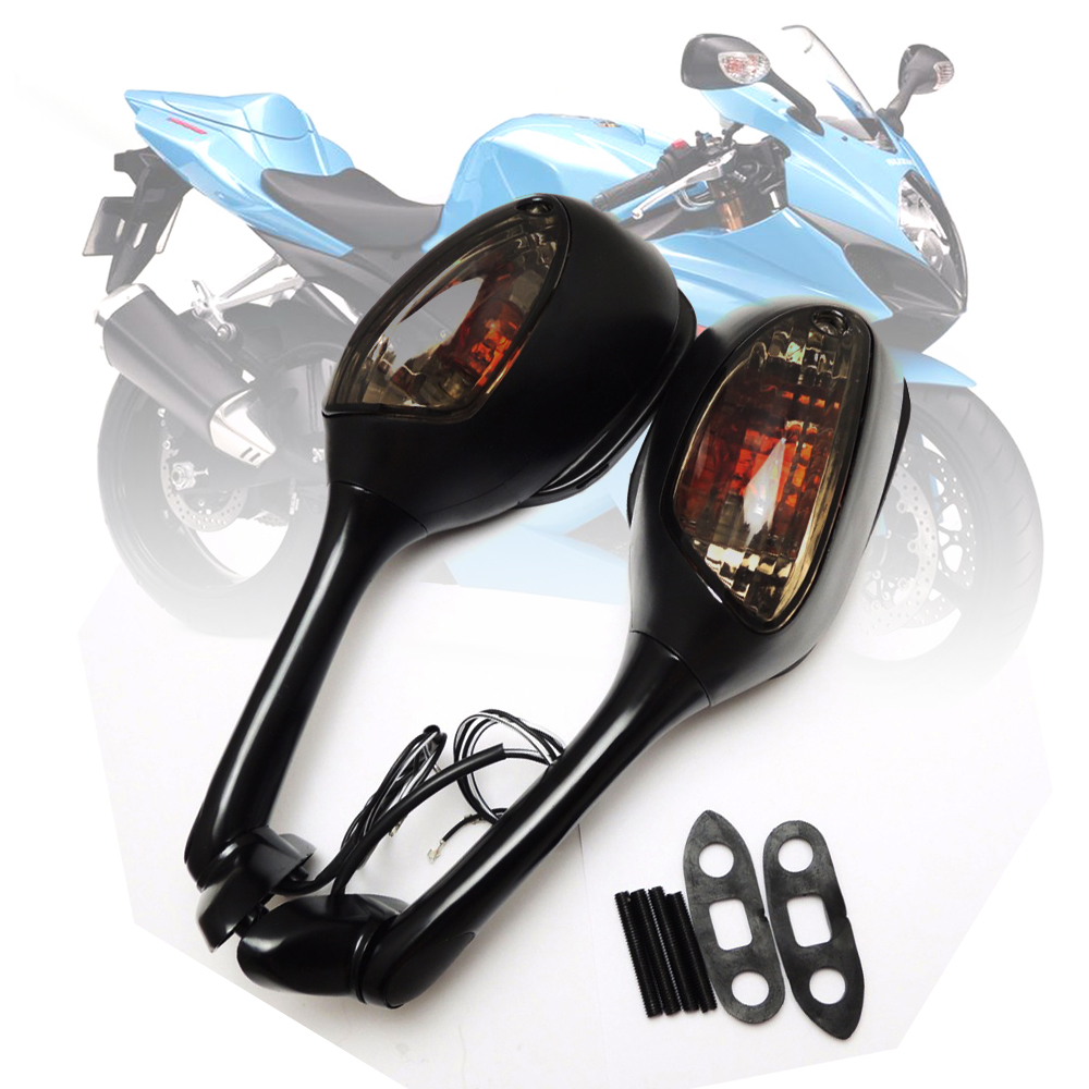 Motorcycle Rearview Rear View Side <font><b>Mirrors</b></font> with LED Turn Signal Light For <font><b>Suzuki</b></font> <font><b>GSXR</b></font> 600 <font><b>750</b></font> 1000 2006-2010 K6 K7 K8 SV650 650S image