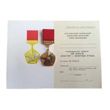 Медаль-мастер советской коммунистической Молодежной лиги с золотыми руками СССР отличный значок инструктора с сертификатом в оригинальной коробке