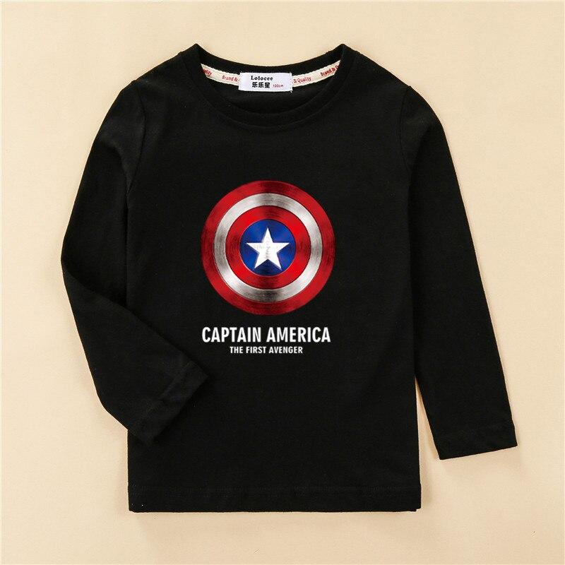 Shield Children T-shirt Long Sleeve Cotton Boy Tops Cartoon Print Design Tees Kids Casual Spring Clothes Boys Captain Shirts 1