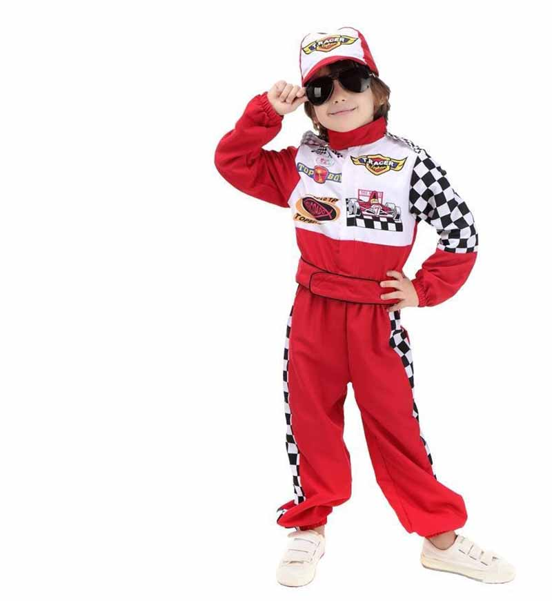 Kids Boys Halloween Racer Cosplay Red Race Car Driver Uniform Children`s Racing Driver Costume Fancy Dress Masquerade Costume