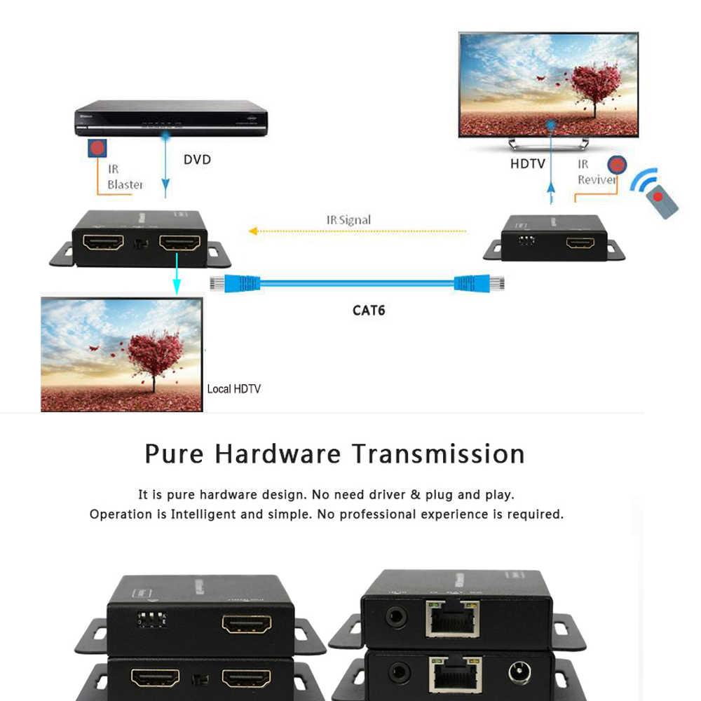 Cabo extensor hdmi de 2 portas, cabo ir poe cat5/6 (extensor de ethernet hdmi + loop hdmi) 1080p com adaptador de alimentação até 50m