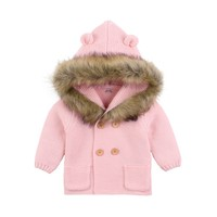 New Winter Fashion Hooded Fur Collar Sweater Jacket Newborn Cardigan Infant Girl Clothes Baby Boy Sweater Clothes Child