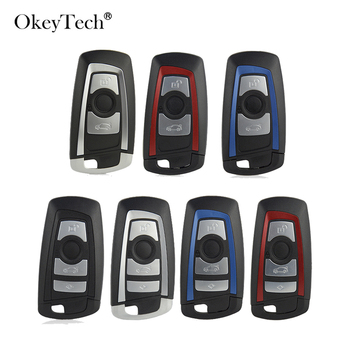 OkeyTech 3/4 Button Smart Remote Car Key Shell Fob For BMW CAS4 F 3 5 7 Series E90 E92 E93 X5 F10 F20 F30 F40 Key Case Cover image