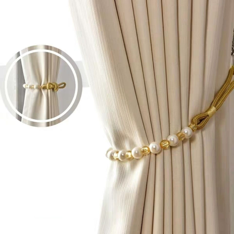 2pcs curtain tiebacks pearl window curtain holder curtain holder back straps tie rope accessory home decoration