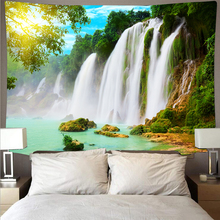 waterfall mountain rock natural scenery print tapestry wall hanging real effect lifelike bohemian wall blanket hippie carpets Mountain rolling forest waterfall lake scenery cheap tapestry art psychedelic wall hanging beach towel mandala thin blanket yoga
