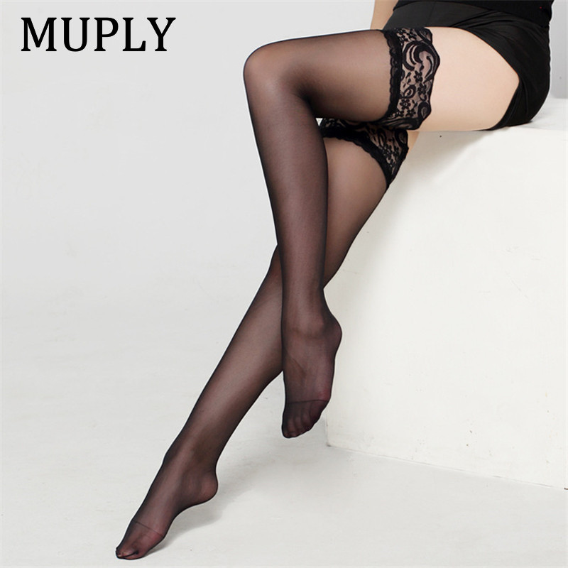 2020 New Sexy Lingerie Lace Stocking Black White Transparent Stock Hot Sexy Legs Long Tube High Tube Thigh Stocking Lovely Stock