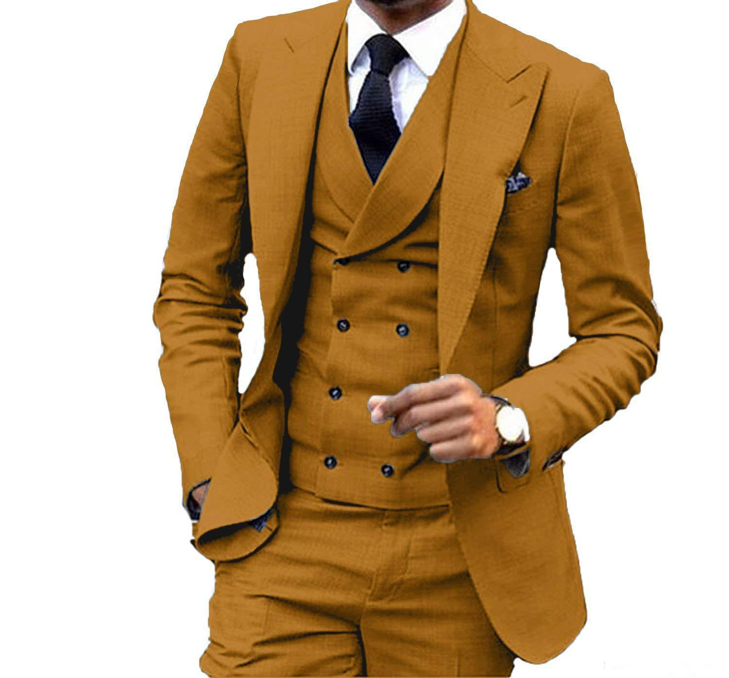 3 Pieces Slim Fit Brown Yellow Groom Tuxedos Peak Lapel Groomsmen Men Wedding Suit  Jacket Blazer 3Piece Suit(Jacket+Pants+ 1
