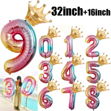 gradient color number with crown ballons happy birthday decorations foil Engagement balloons baby shower decor 2pc 32inch&16inch