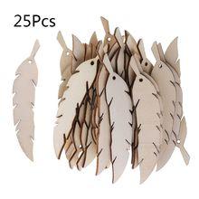 25pcs Laser Cut Wood Feather Embellishment Wooden Shape Craft Wedding Decor halloween or christmas gift