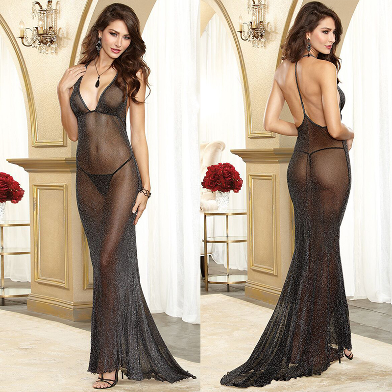 HKMN New Erotic Dress Women Sexy Underwear Long 160cm Skirt With Briefs 9 Colors Lingerie Silm Sex Dress Bodydoll Lace Sleepwear