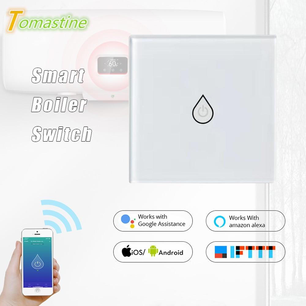 Wifi Smart Boiler Switch EU Plug Hands-free Voice Control Home Smart Timing Switch Via Alexa/Google Home Waterproof&Safe Panel