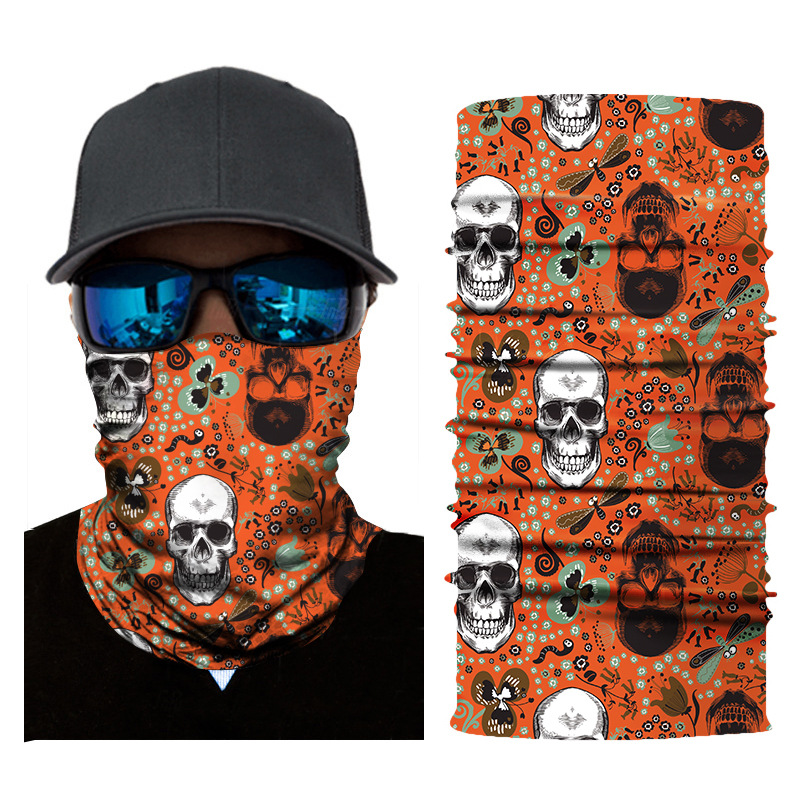 1pc Face Mask Skull Print Balaclava Head Cover Fishing Cycling Outdoor Face Mask Head Hair Band Hood Scarf Pirate Hat Wristbands