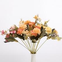 1 bukiet hortensji sztuczne kwiaty akcesoria do dekoracji wnętrz ślubne wyposażenie wnętrz suszone kwiaty dekoracje wazonów diy tanie tanio Hortensja Bukiet kwiatów Ślub Jedwabiu