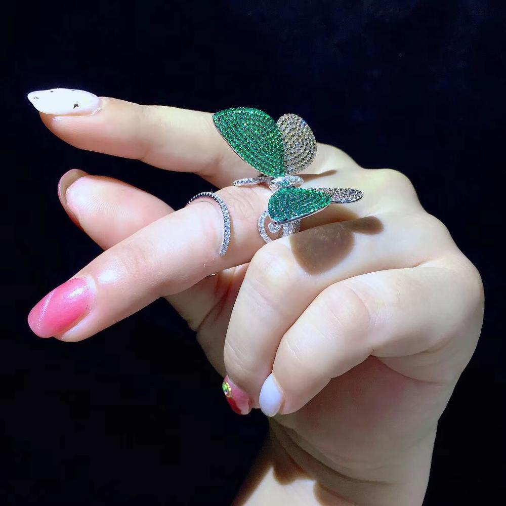 Schmetterling ring 925 sterling silber mit cubic zirkon insekt ring mode frauen schmuck cocktail ring freies verschiffen - 2