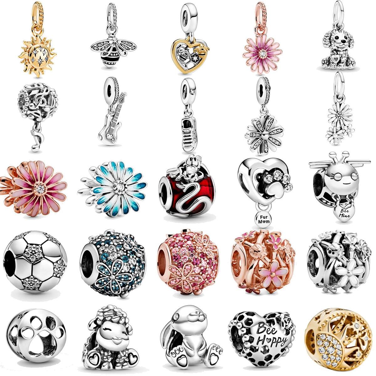 2020 Spring New 925 Sterling Silver Beads Sparkling Daisy Flower Dog Charms Fit Original Pandora Bracelets Women DIY Jewelry