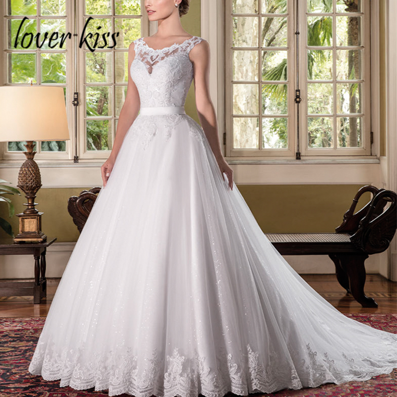 Lover Kiss Vestido De Noiva Fabulous Lace Bride Wedding Dresses Sequin Tulle A Line Wedding Gowns Customize 2019 Rochie De Mirea