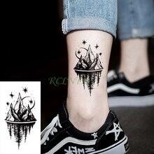 Водостойкие временные тату наклейки луна Хилл лес звезда поддельные тату флэш-тату боди арт рука ноги для девушек женщин мужчин