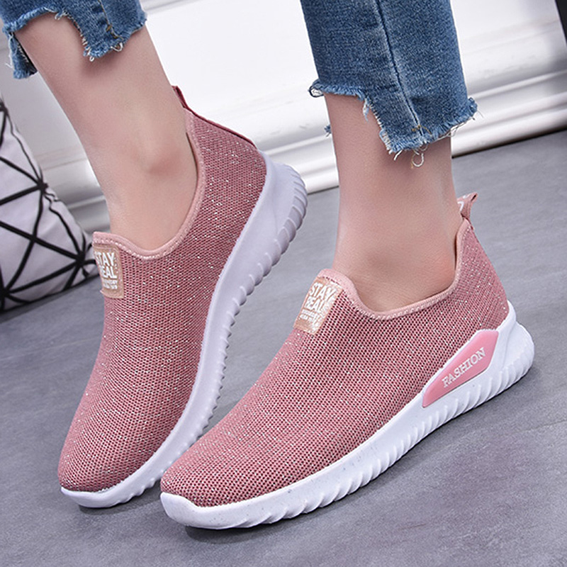 Weweya Women Sneakers Fashion Sock Shoes Female Flats Loafers Shoes Casual Slip On Flats Ladies Trainers Tenis Feminino 2020