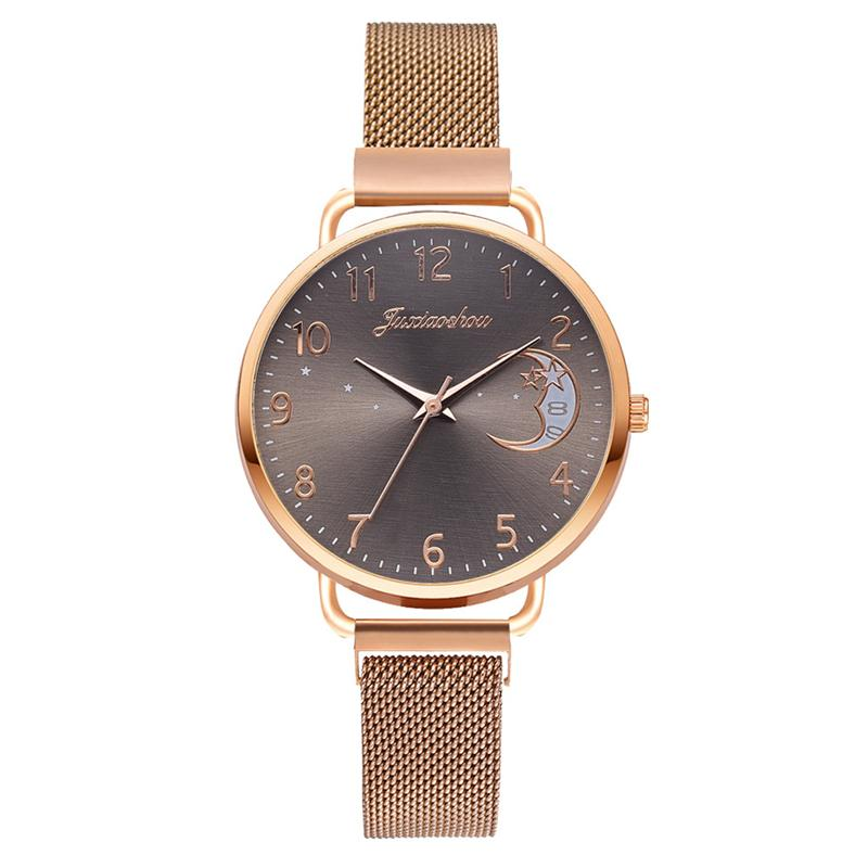 Rose Gold Mesh Strap Women's Fashion Watches Simple Numbers Dial Luxury Quartz Watch Women Clock Rose Gold Pointer Wristwatches 9