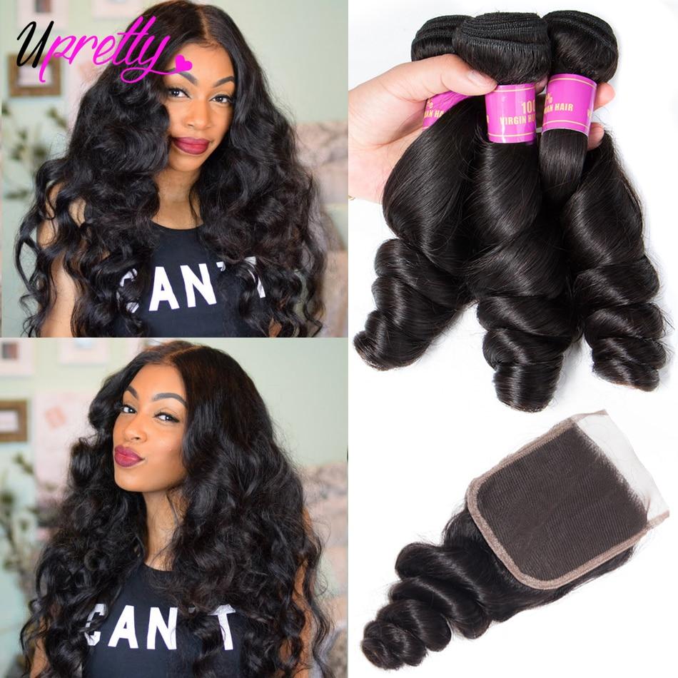 Upretty cabelo onda solta pacotes com fechamento do laço com pacotes brasileiro remy cabelo humano tecer pacotes com fechamento