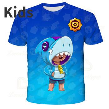 Koszulka z krótkim rękawem Brawlers Spike and Star Leon koszulka dziecięca dla dzieci strzelanka 3d t-shirty moda dla dziewczynek Harajuku Boys Clothes tanie i dobre opinie BRAWL STARS CN (pochodzenie) POLIESTER 4-6y 7-12y 12 + y Movie Anime Gaming Cosplay 3D Digital Printed Slant Patch Pocket