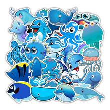49 Pcs Blue Sea Ocean Sticker Pack Vinyl Waterproof Water Bottle Laptop Stickers Decal Graffiti Patches for Teen Girls