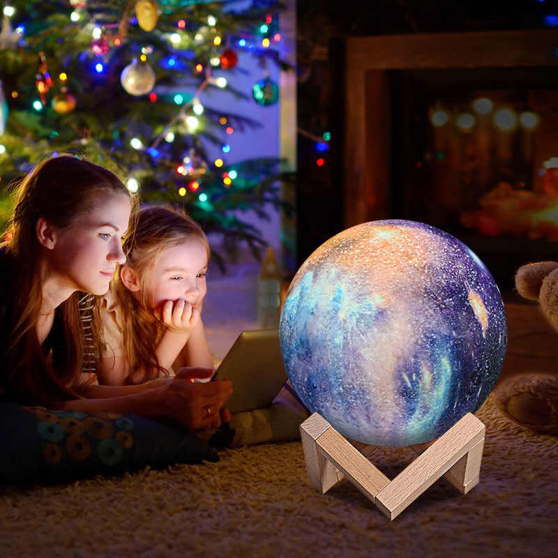 USB Rechargeable LED Desk Lamp modern 3D moon lamp 16 colors Touch Dimming earth table lamp for Children Kids Christmas gifts