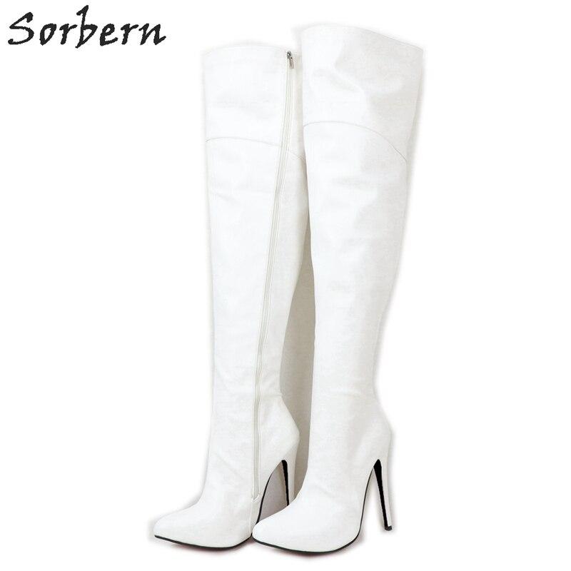 Sorbern 16Cm High Heel Women Boots Mid Thigh High Female Shoes Custom Slim Wide Fit Long Boot Unisex Plus Size Fetish Heels