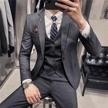 (Jackets+Vest+Pants) Male autumn Korean Blazers slim check British business suit Men three piece wedding bridegroom man dress