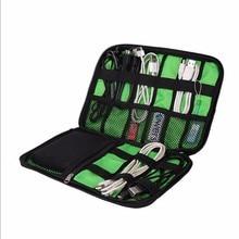 купить Portable Cable Storage Organizer Bag Waterproof Shockproof Earphone Digital USB Cable Pen Travel Insert Storage Bag по цене 237.59 рублей