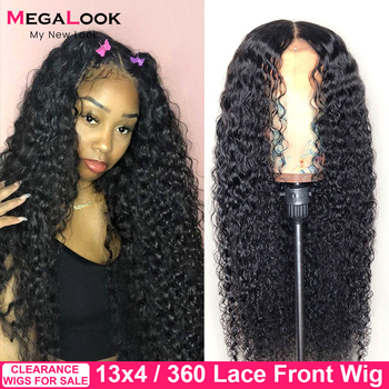 Curly Human Hair Wigs Peruvian Frontal Wig 30 Inch Lace Front 13x4 13x6