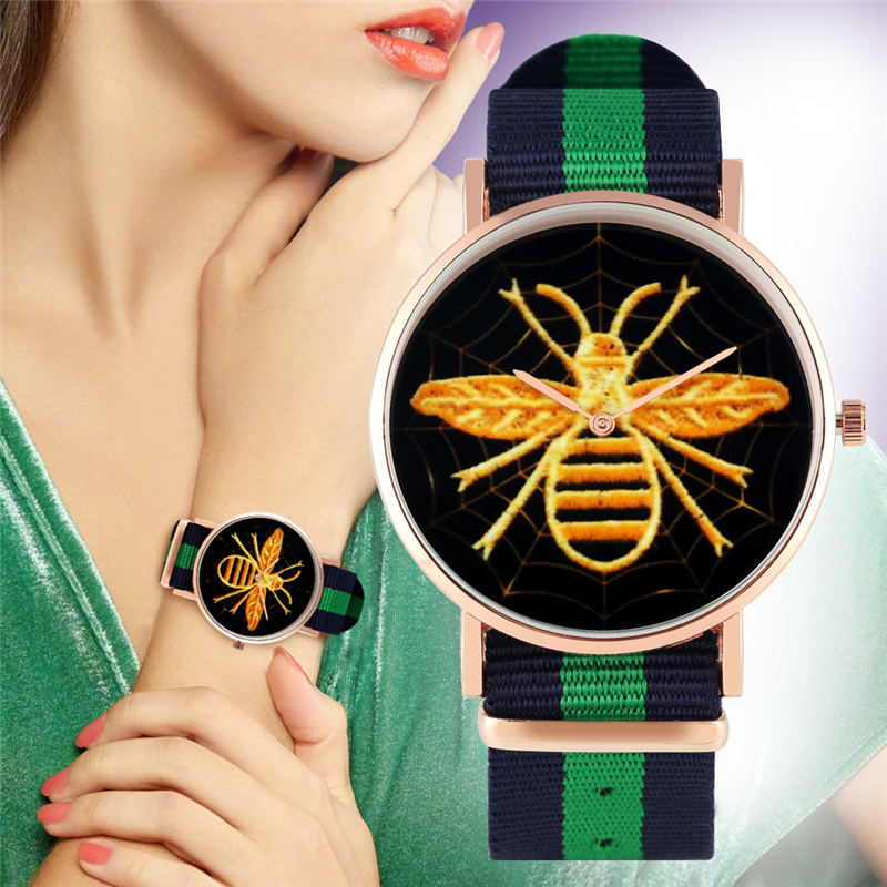 YISUYA Women Watch Quartz Animal Yellow Bee No Digital Balck Dial Nylon Watchband Casual Simple Ladies Watch Relojes Mujer