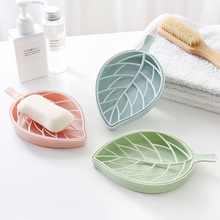 Double Layer Leaf Shape Drain Soap Storage Portable Dishes  Plate Tray Holder Bathroom Shower Soaps box 3 color For Choose