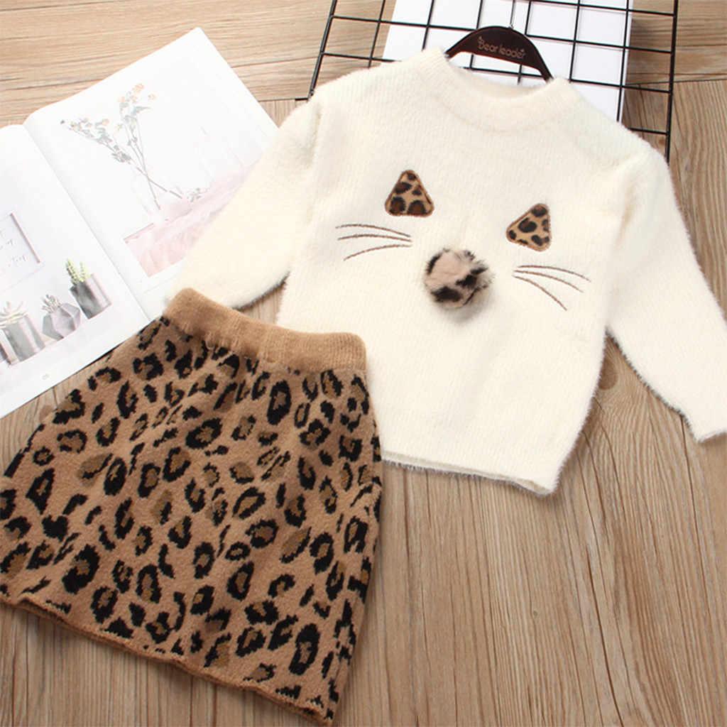 Kız uzun kollu ceket vizon LeopardWool elbise iki adet takım elbise kız uzun kollu giyim kış yuvarlak boyun çocuk giysileri