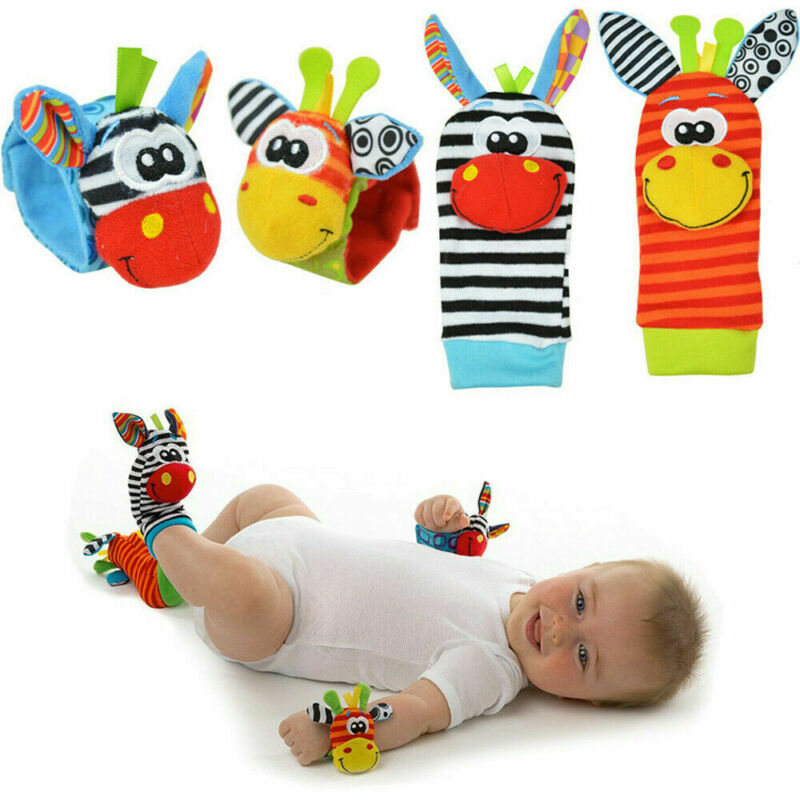 2020 Baby Toys Cute Baby Infant Soft Rattles Handbells Hand Foot Finders Socks Developmental Toy Stuffed Socks Birthday Gifts