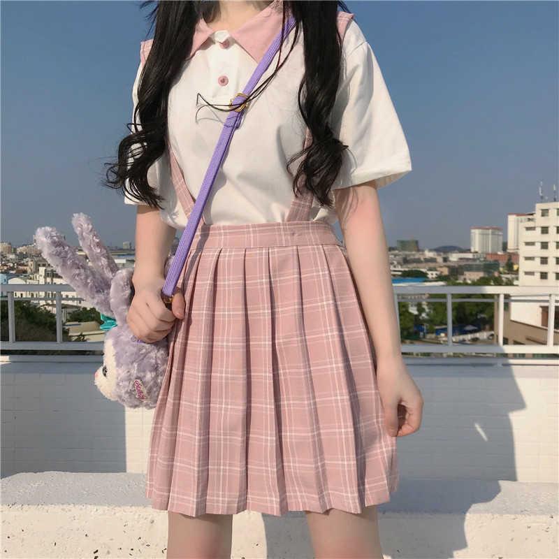 日本カレッジポロ襟半袖 tシャツ + ハイウエスト野生のチェック柄プリーツストラップスカートスーツロリータドレス女性かわいい