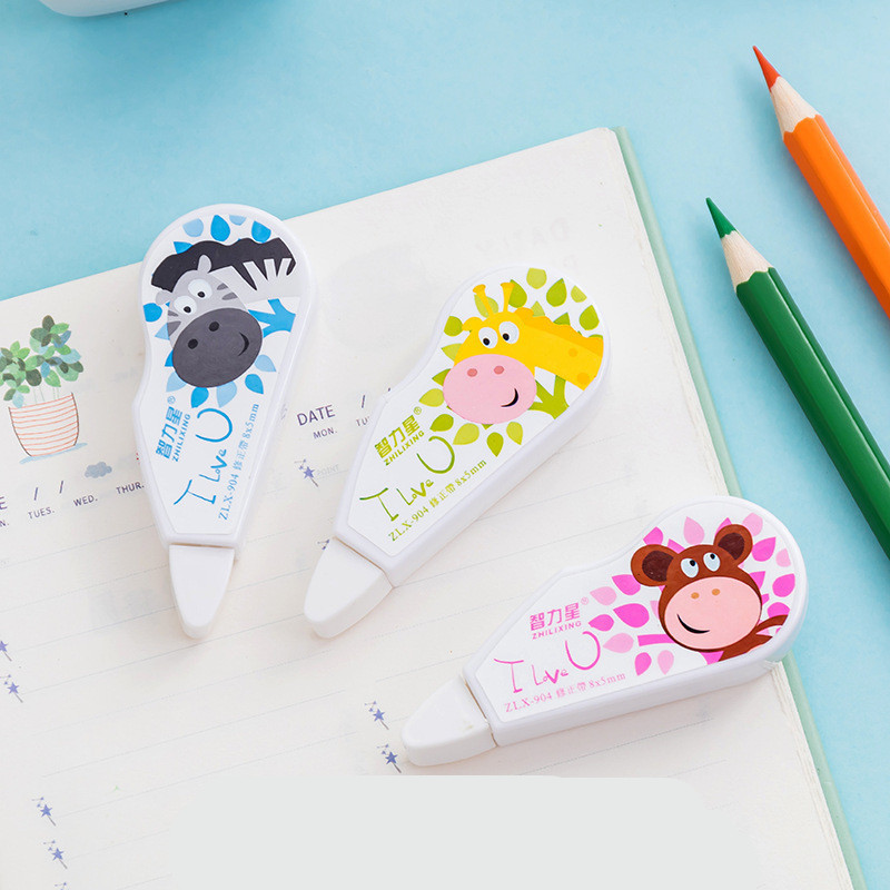 Cartoon Animals Correction Tape Kawaii Candy Colors School Accessories For Kids Student Gift Office Stationery Supplies