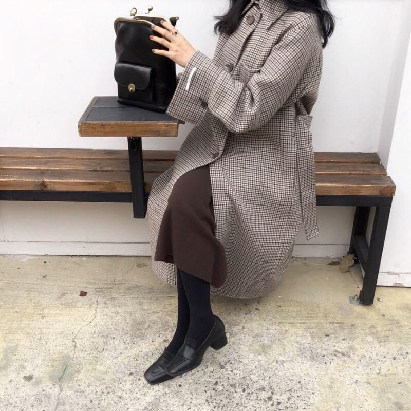 H02d4a5cc1a114cd08d0b26acbb3835e4g - Winter Houndstooth Check Woolen Overcoat with Belt