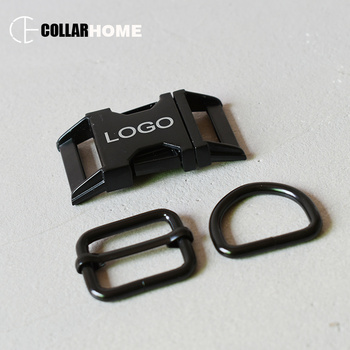 20 sets engrave logo ID metal belt buckle 25mm non-welded D rings for dog pet collar sewing accessories adjuster slider buckle